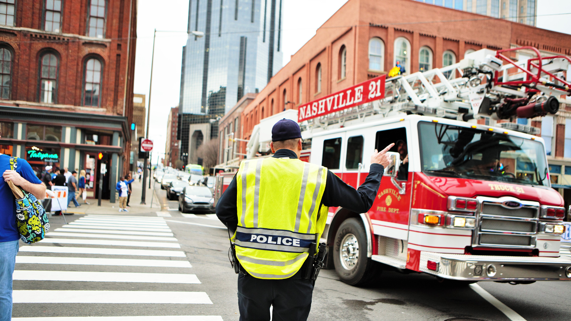 nashville police and firetruck downtown