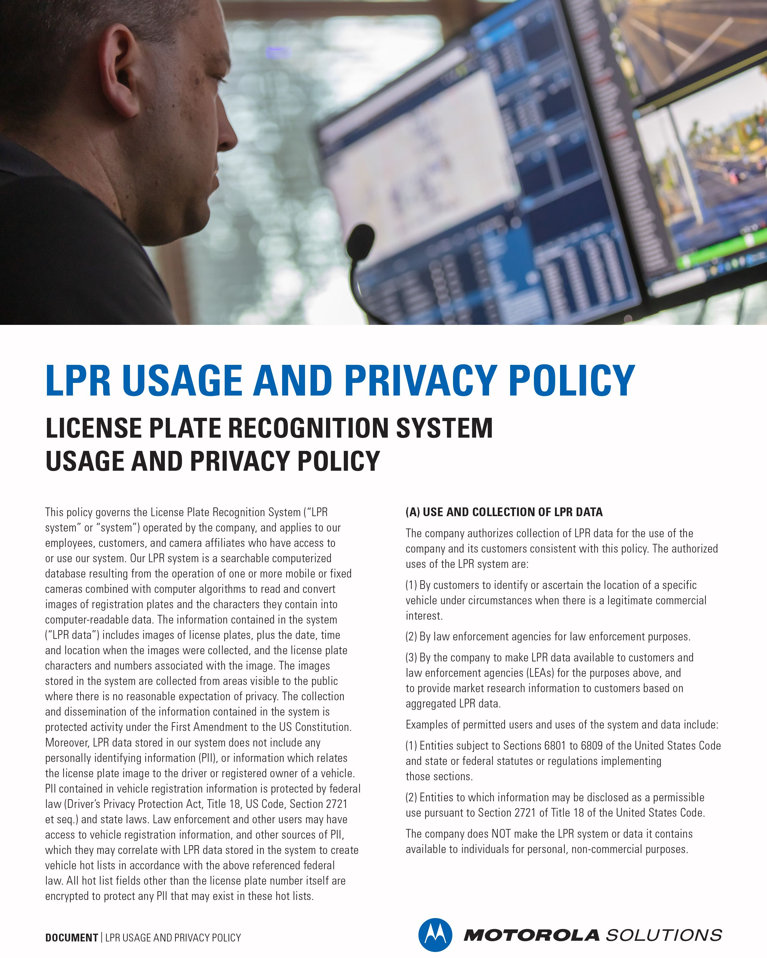 LPR Usage and Privacy Policy