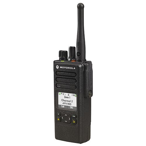 Side view of APX900 single-band P25 portable radio - Motorola