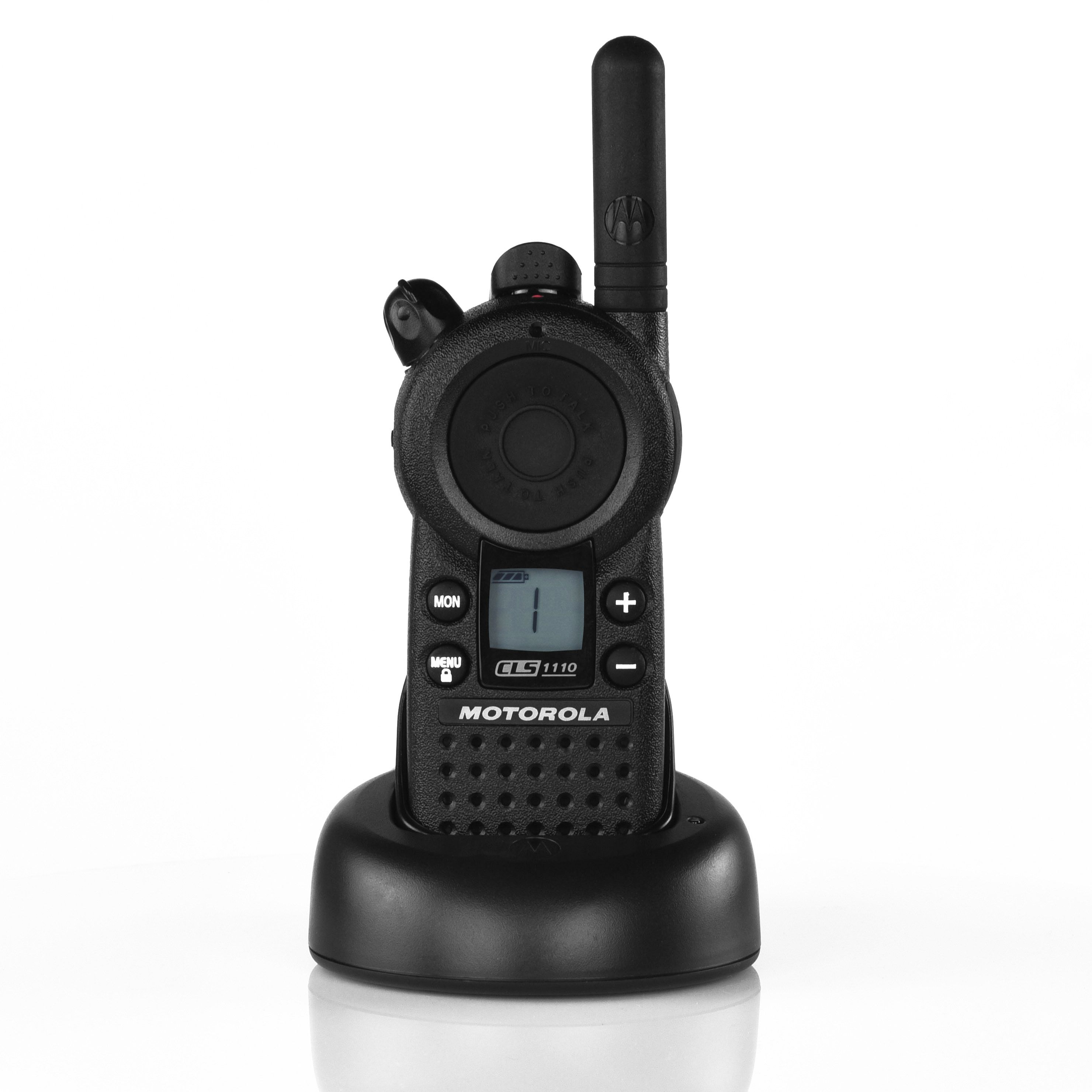 motorola handheld radio. delivering remarkable functionality at the push of a button, cls 1110tm on-site two-way radio is designed for fast pace business. motorola handheld